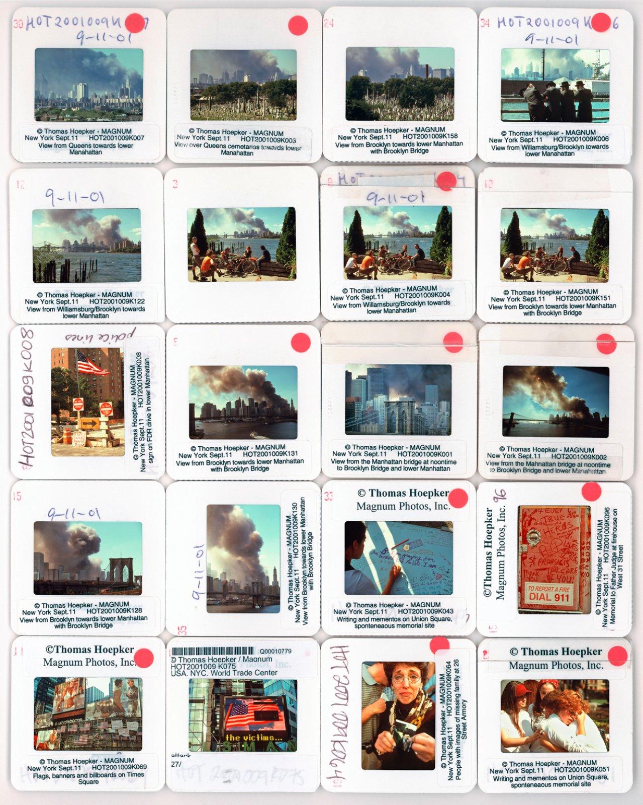 9/11. New York, USA. 2001. Contact Sheet © Thomas Hoepker / Magnum Photos