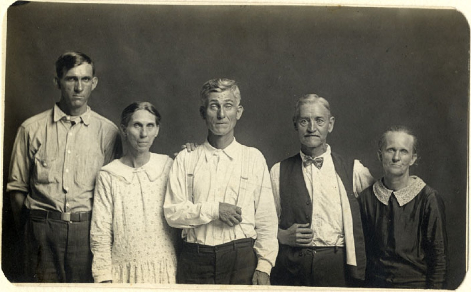 Mike Disfarmer,  Joe and Fanny Carr, Mose Harmon, and Bill and Julia Harlan Vintage gelatin silver print, ca. 1930  All prints courtesy of the Edwynn Houk Gallery or the private collection of Michael Mattis and Judith Hochberg