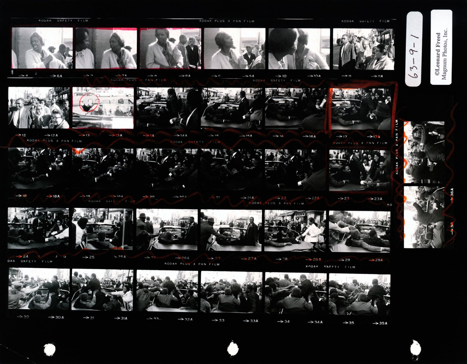 Martin Luther King. Baltimore, USA. October 1964. Contact Sheet © Leonard Freed / Magnum Photos