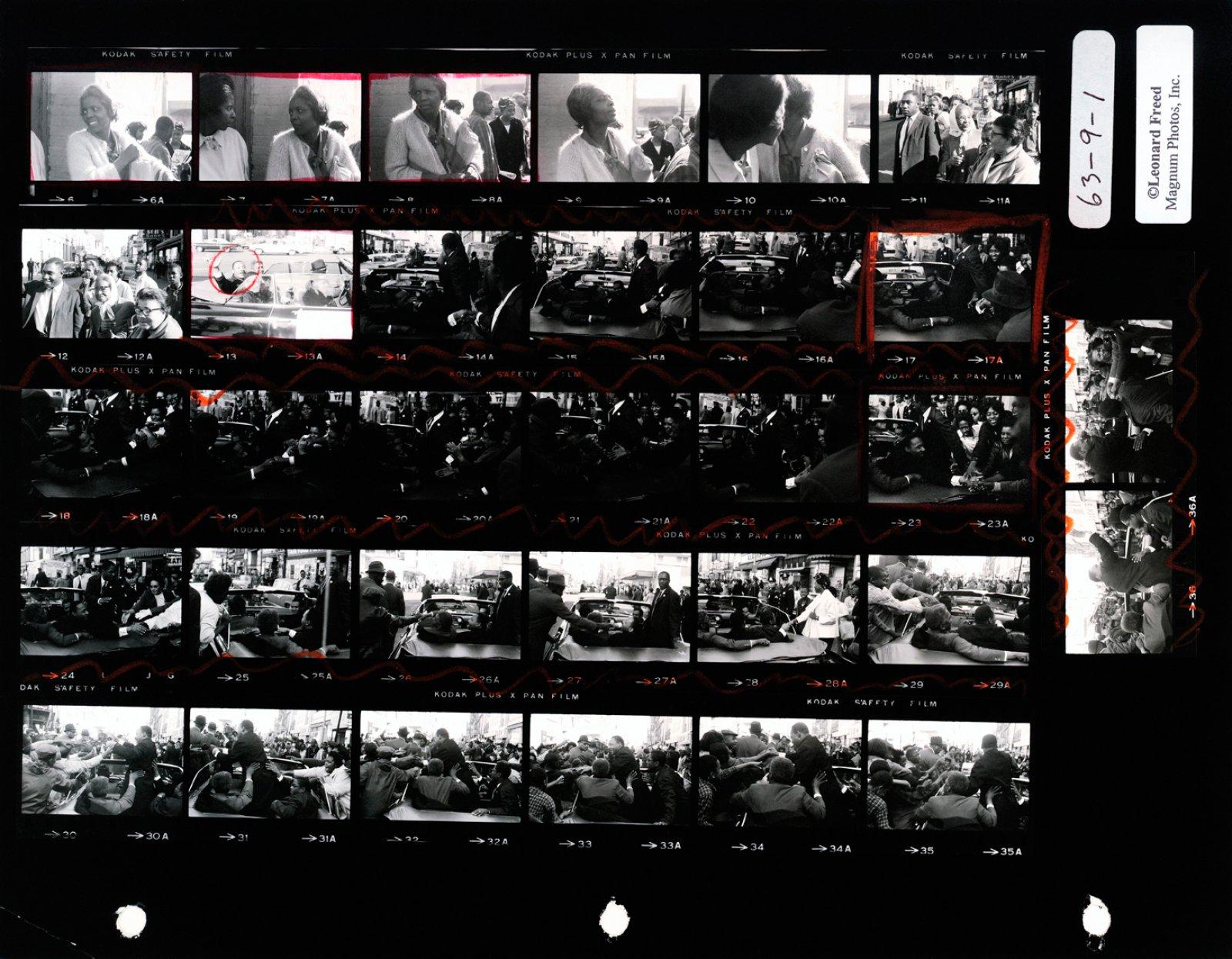 Martin Luther King. Baltimore, USA. October 1964. Contact Sheet © Leonard Freed / Magnum Photos