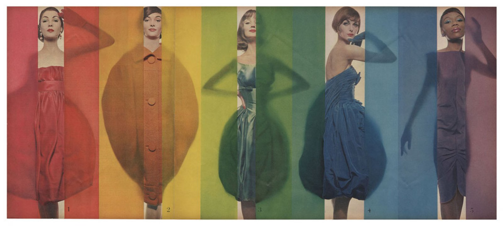 """Rage for color"",  Look, October 15th, 1958. (models from left to right : Renée Breton, Tess Mall, Dolores Hawkins, Anne St. Marie, Bani Yelverton) © The Estate of Erwin Blumenfeld"